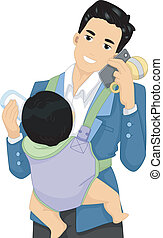 Multitasking Dad - Illustration of a Father Talking on the...