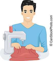 Sewing Man - Illustration of a Man Using a Sewing Machine