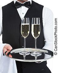 camarero, proceso de llevar, champaña, Flautas, en,...