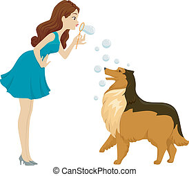 Dog Bubble Play - Illustration of a Woman Playing with...