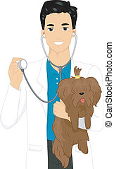 Dog Check Up - Illustration of a Male Veterinarian Checking...