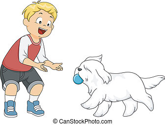 Dog Fetch - Illustration of a Little Boy Playing Fetch with...