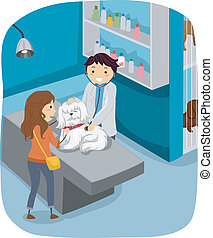 Dog Check Up - Illustration of a Woman Taking Her Dog to the...