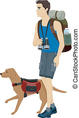 Dog Hiking - Illustration of a Man and His Pet Dog Hiking