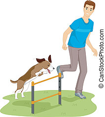 Dog Agility Test - Illustration of a Man Testing His Dog's...
