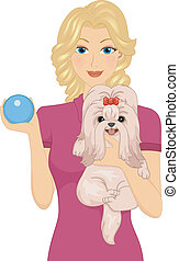 Dog Toy - Illustration of a Woman Carrying Her Pet Dog in...