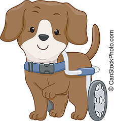 Dog Wheelchair - Illustration of a Handicapped Dog Attached...