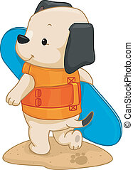 Surfer Dog - Illustration of a Cute Dog Carrying a Surfboard