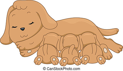 Breastfeeding Dog - Illustration of a Female Dog...