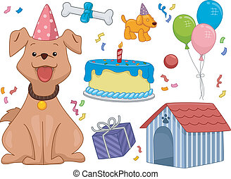 Birthday Dog - Illustration Featuring a Dog Surrounded by...