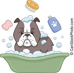 Dog Bath - Illustration of a Pit Bull Taking a Bath