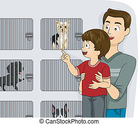 Pet Shop Kid - Illustration of a Father Taking His Kid to a...