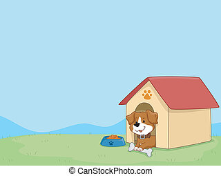 Dog House Background - Background Illustration Featuring a...