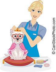 Dog Salon Makeover - Illustration of a Female Dog Salon...