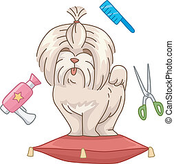 Dog Salon - Illustration Featuring a Cute Dog Surrounded by...