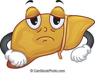 Fatty Liver Mascot - Mascot Illustration Featuring a Sickly...
