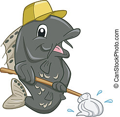 Janitor Fish Mascot - Mascot Illustration of a Janitor Fish...