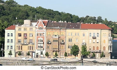 Budapest old houses on the banks of the Danube