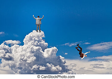 no limits - happy man and falling worker on the clouds