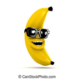 3d Laughing banana wears sunglasses - 3d render of a banana...