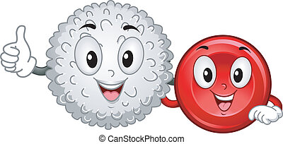 Blood Cells Mascots - Mascot Illustration Featuring a White...