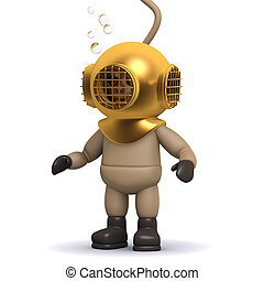 3d Deep sea diver has reached the bottom - 3d render of a...