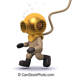 3d Deep sea diver walks along the bottom - 3d render of a...