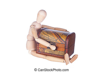sitting wooden dummy holds a chest, is isolated
