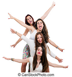 Teen girls having fun in studio - Portrait of young teen...
