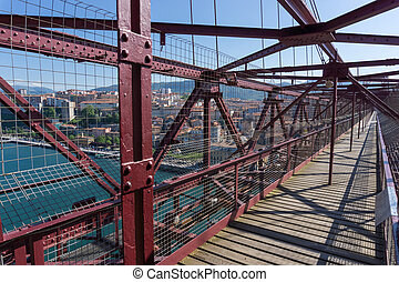 On top of the Bizkaia suspension bridge - Detailed view of...