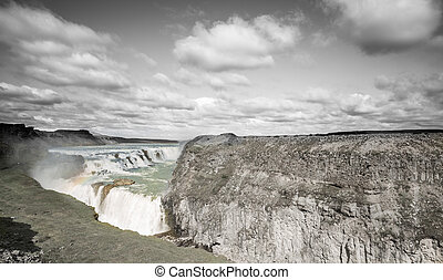 Waterfall Gullfoss in grayscale, Iceland - Panoramic view of...