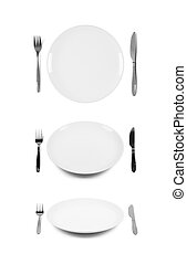 White plate with fork and knife. Isolated on white. Three...