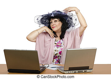 Dater, cieszyć się, pracujący, Online
