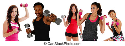 Group Working Out - Group of diverse people working out at...