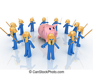 Piggy bank - 3d render of piggy bank. Finance concept.