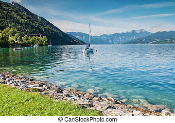 Attersee lake in Austria - Attersee lake in the mountains of...