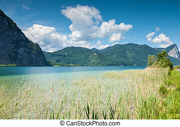 Mondsee lake in Austria - Mondsee lake in the mountains of...