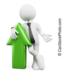 3D white people. Businessman with a green arrow