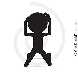 3d mans prayer silhouette - EPS Vector 10 - 3d mans prayer...