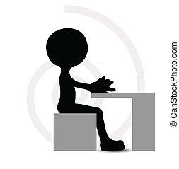 3d man in typing pose