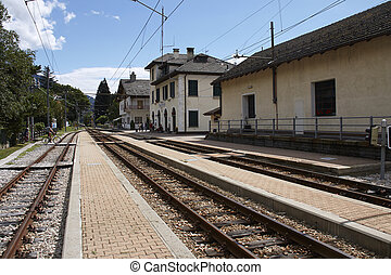 Train station of Santa Maria Maggiore in Italy, Domodossolas...