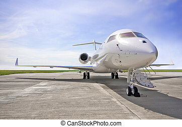 Luxury Private Jet Airplane - Side view - Bombardier Global...