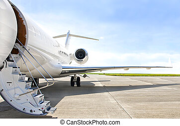 Stairs with jet engine on a private airplane - Bombardier -...