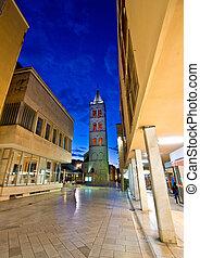 Kalelarga famous Zadar street night view, Dalmatia, Croatia