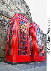 Classic red British telephone box - Worms eye view of...