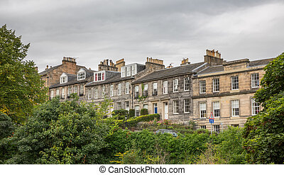 Side view of vintage facades in Edinburgh - Wide angle view...