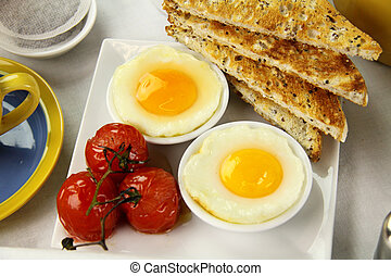 Poached Eggs And Tomatoes - Delicious poached eggs and...