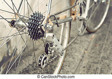 Bicycle's rear wheel - Bicycle's detail view of rear wheel...