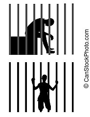 Prisoner - Vector illustration of a man in jail