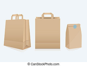 Set of three different paper bags